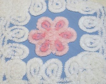 Pink Flowers on Wedgwood Blue Plush Vintage Chenille Bedspread Fabric Piece - 7 Flowers for Patchwork Squares