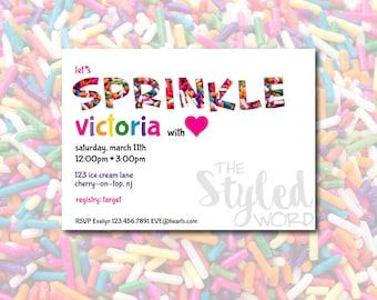 Sprinkle Theme Sprinkle Baby Shower Invitation / Rainbow Colors / Sprinkle  Shower / 2nd Baby /