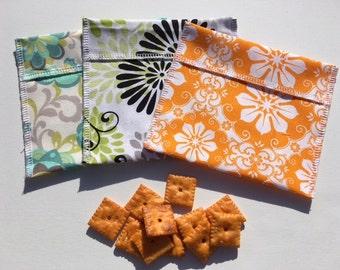 Reusable Snack Bag Set FREE SHIPPING Set of 3 Aqua Gray Orange Flowers