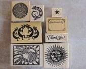 Rubber Stamp lot Destash Craft Supplies, Scrapbooking Supplies, sun stamps, southwest Rubber Stamp lot, art stamp, scrapbook stamps