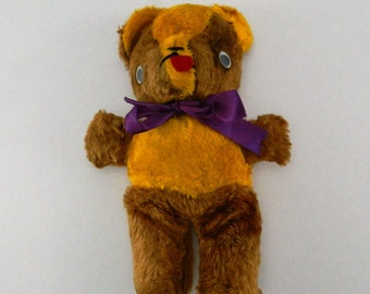 Vintage Carnival Teddy Bear Brown and Orange 11 Inches Googly Eyes Fair Prize Carnival Prize