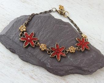 SALE: Red Bracelet, Bronze Chain Bracelet, Vintage Style Bracelet, Red Flower Bracelet, Red Jewellery, Antique Style Jewellery, UK, 566a