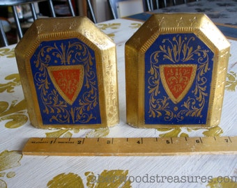 Antique Little  Bookends Gold and Blue Little Leather Books Metal Base With Plaster