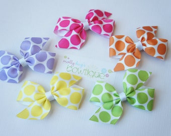 Polka Dot Small bow 5 pack in Bright colors