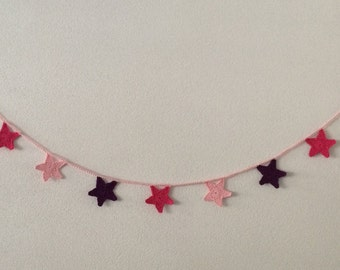 Crochet bunting. Crochet star garland. pink purple fuchsia. Home / party decoration