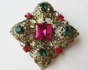 Vintage 40s Czech Jeweled Pink Art Glass Rhinestone Filigree Brooch Pin