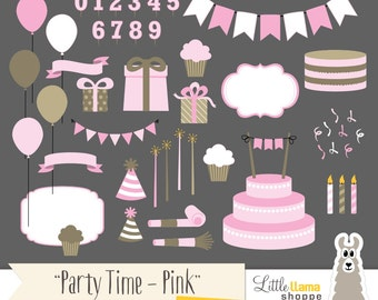 Party Clipart, Birthday Party Clip Art, Pink Cake Present Party Hat Noise Maker Bunting Banner Balloons Cupcake, Commercial Use
