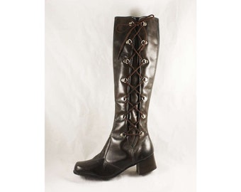Size 5 Brown Boots with Lace Up - Unworn 60s Go Go Boot - Genuine Dark Brown Leather - Biker Girl 1960s Street Chic - NOS Deadstock 47672-1
