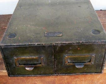 army green steel file cabinet desk top 2 drawers  industrial office studio storage mid century