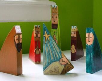 wood nativity set joseph mary baby jesus three kings star original a2n2koon mixed media nativity scene on reclaimed wood set of 6 handmade