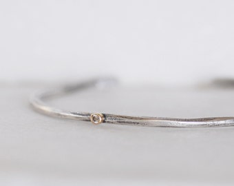 Brown Diamond Cuff - Skinny Sterling and 18k Gold Open Cuff