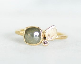 Rose Cut Diamond Ring - Olive Diamond Petal Engagement Ring - Eco-Friendly Recycled Gold - Size 6 1/2