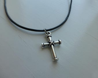 cross silver necklace, black leather, for him, for her, teen boy or girl, confirmation, faith, gift, simple, wonderkath