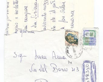 1980s Vintage correspondence full letter from Palermo, Italy - Handwritten envelope with sheets inside - Italian circulated mail from past