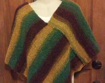 Poncho - Gold, Green, Maroon and Brown
