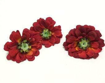 3 Tomato RED Zinnias -2 Sizes- OOAK Silk Flowers, Artificial Flowers, Flower Crown, Hair Accessories, Wedding Flowers, Millinery, Embellish