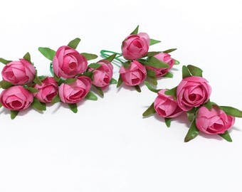 Selling Out - 12 Artificial Pink Mini Ranunculus - Artificial Flowers, Silk Flowers, Wedding, Flower Crown, Hair Accessories, Millinery