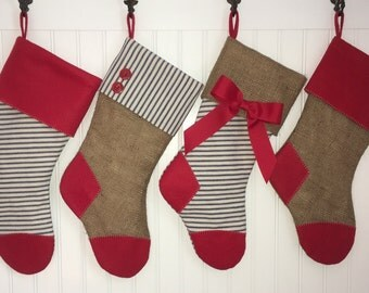 Burlap and Vintage Ticking Christmas Stocking Family Set of 4  with Red Cuff Navy Cream Stripe Classic Christmas Country Farmhouse