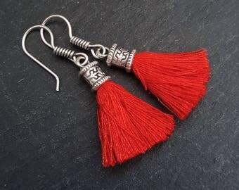 Mini Red Tassel Drop Earrings - Bohemian Boho Style Light Comfortable Daytime Jewelry - Authentic Turkish Style