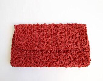 VINTAGE Raffia Clutch 1970s Raspberry Straw Bag