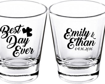 Wedding Shot Glasses - Wedding Favors - Party Favors - Shot Glasses - Best Day Ever  Shot Glasses - Bachelor Party - Custom Shot Glasses