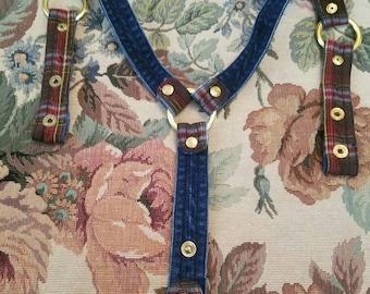 Vintage Pelle Snap Suspenders Denim and Plaid Snap Closures Rings Adjustable 1980s