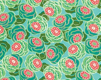 Clouded Floral in Sea Glass Dream Weaver Fabric by Amy Butler - Half Yard