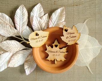 180 Wood Leaf Wedding Favors Personalized