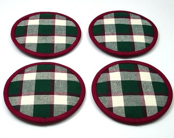 Christmas Coasters, Plaid Coasters, Cranberry and Forest Green, Cloth Coasters, Fabric Coasters, Felt Back Coasters,  (Set of 4)
