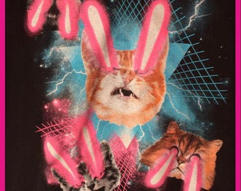1980s Laser Cats in Retro Space T-shirt