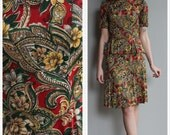 1930s Set // Jeweled Paisley Rayon Jersey 2pc Set // vintage 30s blouse & skirt