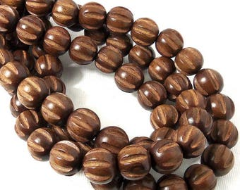 Magkuno Wood Bead, 12mm, Round, Carved with Grooves, Melon Cut, Natural Wood Beads, Large, 16 Inch Strand - ID 2296