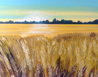 Wheat Field | 18 x 24 inch Impressionist | Landscape | Agricultural Farm countryside Art | Original Oil Painting farm southern
