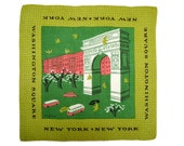 4 New York New York Tammis Keefe Mid-Century Signed Handkerchiefs Times Square Washington Square Central Park Zoo Lower Manhattan Linen