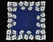 VINTAGE FLORAL HANKIE Gorgeous White Double Dogwood Border on Bright Navy Linen Cord Edge Follows Flower Shape Like New Excellent Condition