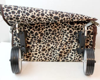 leopard print folding rolling suitcase travel bag carry on