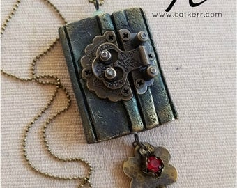 My Storybook Polymer Clay Open Book Pendant and Necklace