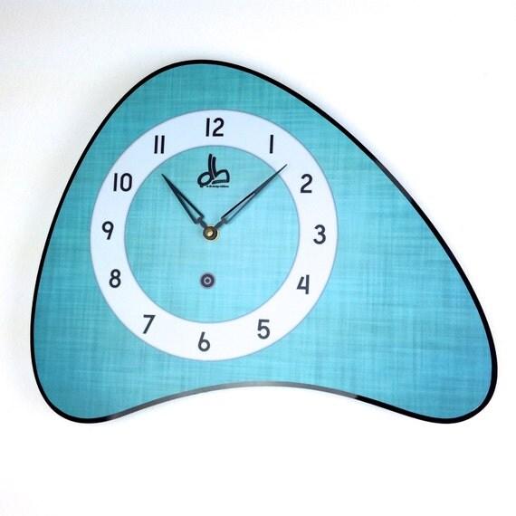 Horloge murale turquoise style vintage ann es 50 - Horloge murale vintage ...