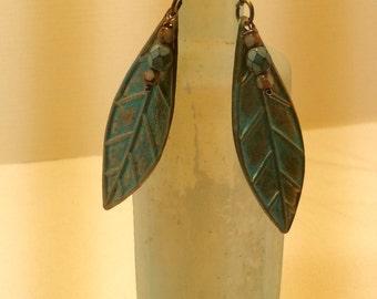 Leaf Earrings. Brass Verdigris. Dangle Earrings. Boho. Woodland.