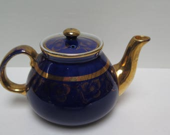Hall Teapot Cobalt Blue with gold floral trim F-42 - small 2 cup teapot