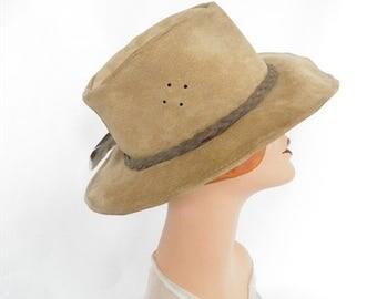 Womans Walkabout hat, vintage leather cowboy hat, Australia