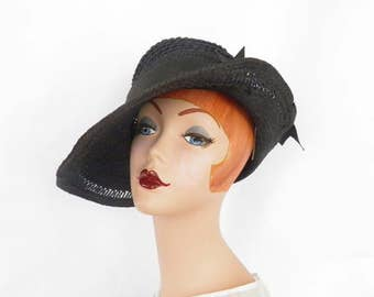 Everitt vintage hat, black wide brim