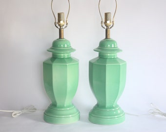 Vintage Pair of Green Ceramic Table Lamps
