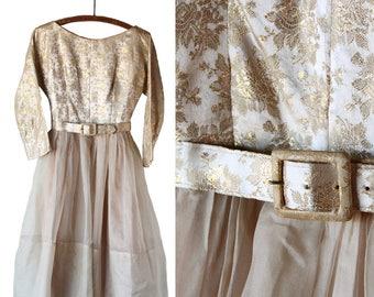 1950s Gold Brocade & Organza Party Dress | Medium