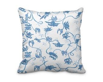 Chinoiserie Flower Pillow Cover, Chiang Mai Cushion Cover, Asian Print Pillow Cover, Far East Cushion Cover