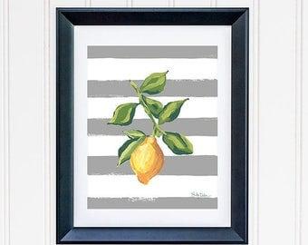Picture Of Lemon, Lemon Art Print, Lemon Wall Art, Lemon Illustration, Citrus Fruit Print, Fruit Wall Print, Lemon Kitchen Decor