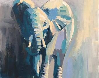 African Elephant Painting, Original Elephant Wall Art, Elephant Room Decor, Safari Wall Painting, Wildlife House Decor