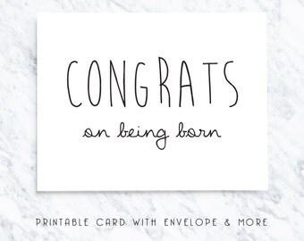 funny birthday card, printable birthday card, sarcastic birthday card, digital birthday card, silly birthday card, congrats on born