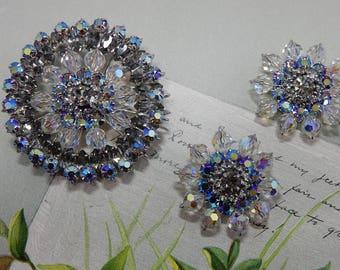 Clear Austrian Crystal & Smoky Rhinestone Brooch and Clip On Earrings Set      OAE46