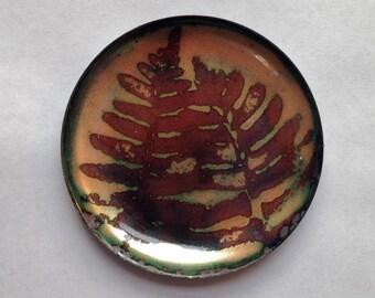 Fern trinket dish / enameled copper small plate / ring holder